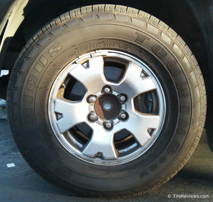 Americus Touring CUV tire on a Toyota Tacoma